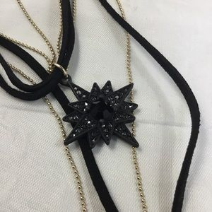 Crystal Studded Faux Leather Star Pendant Choker